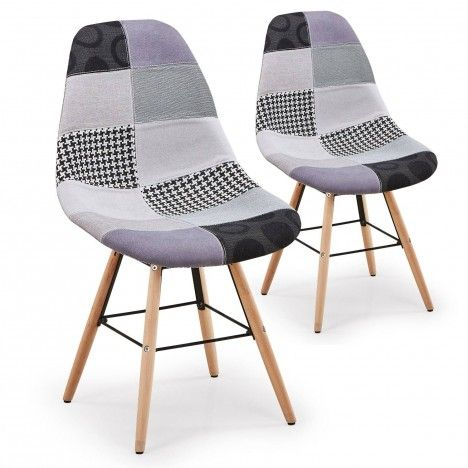 Chaise grise scandinave design patchwork lot de 2 - Chaises design grises ...