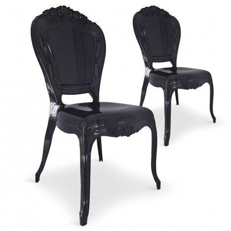 Chaise style baroque en PVC noir - Lot de 2 -