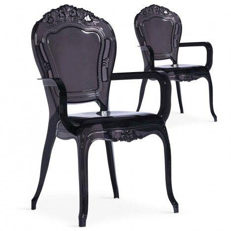 Chaise style baroque noire avec accoudoirs - Lot de 2 -