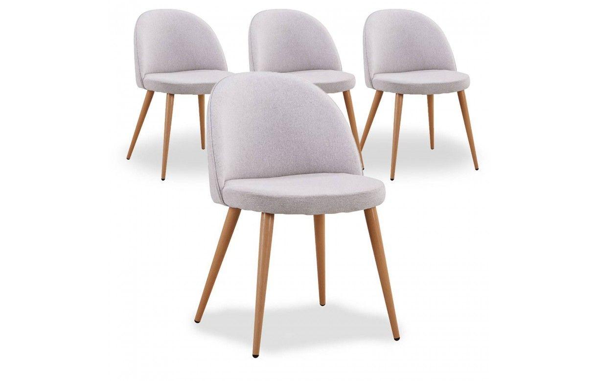 Chaise scandinave en tissu jaune dossier bas lot de 4 - Un dossier de chaise ...