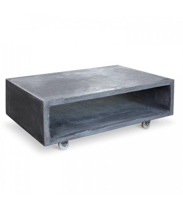 Table Basse Casier Effet Beton Cire Sur Roulettes Topiny
