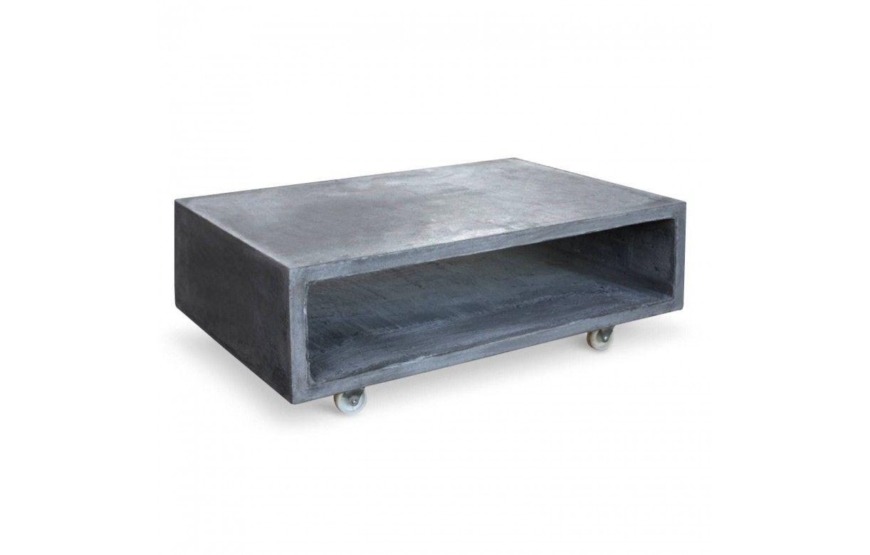 Table En Béton Ciré Et Bois table basse casier effet béton ciré sur roulettes topiny