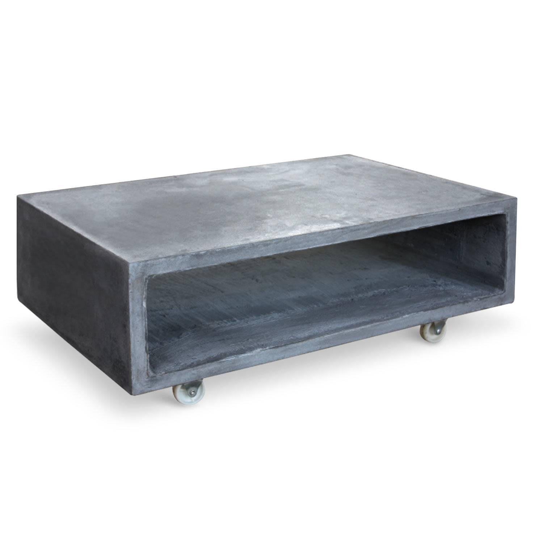 Table Basse Casier Effet Beton Cire Sur Roulettes