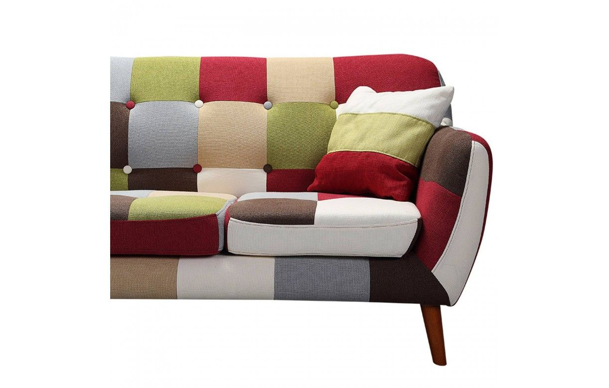 Canap 3 places patchwork style scandinave capitonn for Canape patchwork