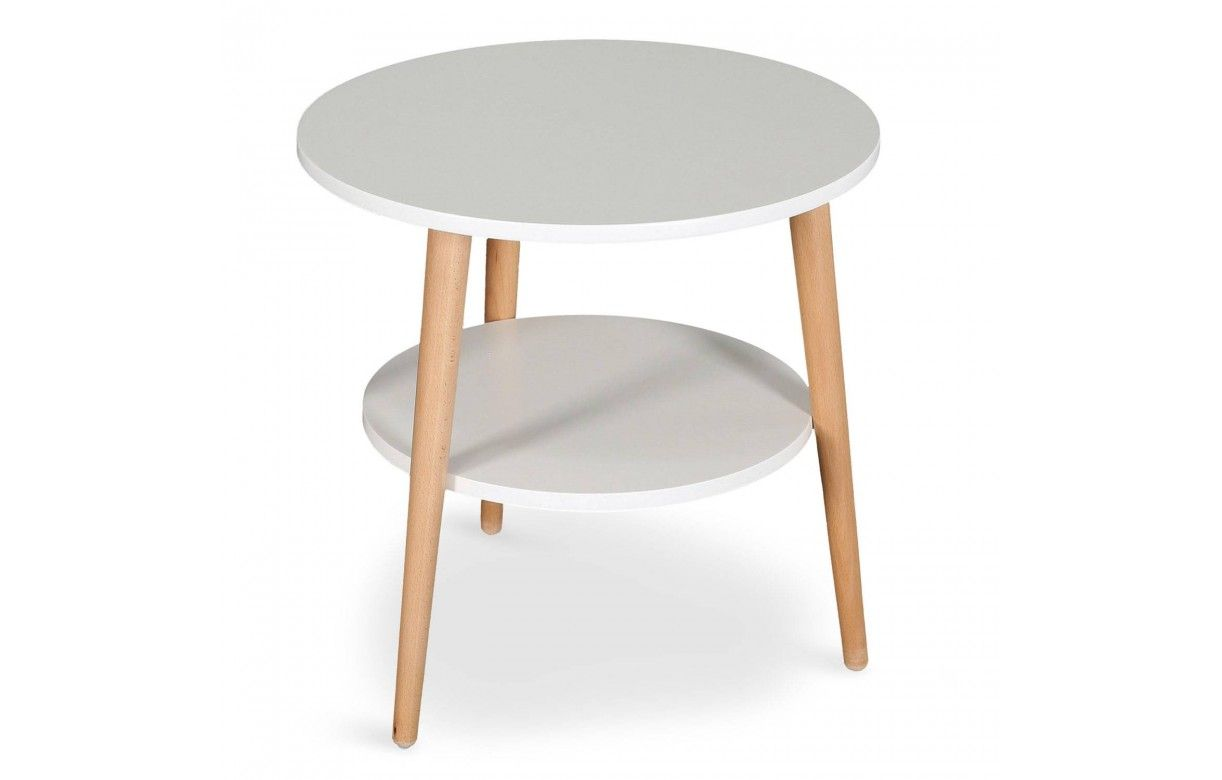 Table basse scandinave ronde double plateau for Table basse plateau