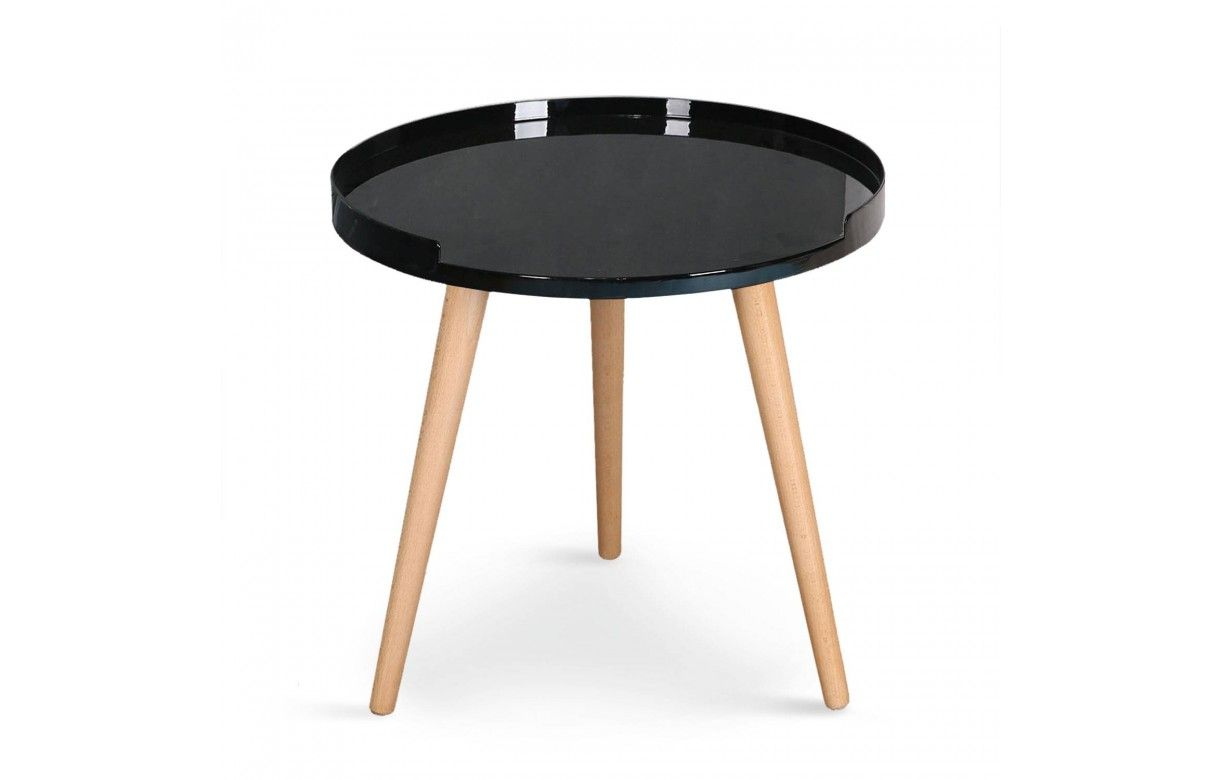 Table basse ronde avec rebords scandinave for Petite table ronde bois