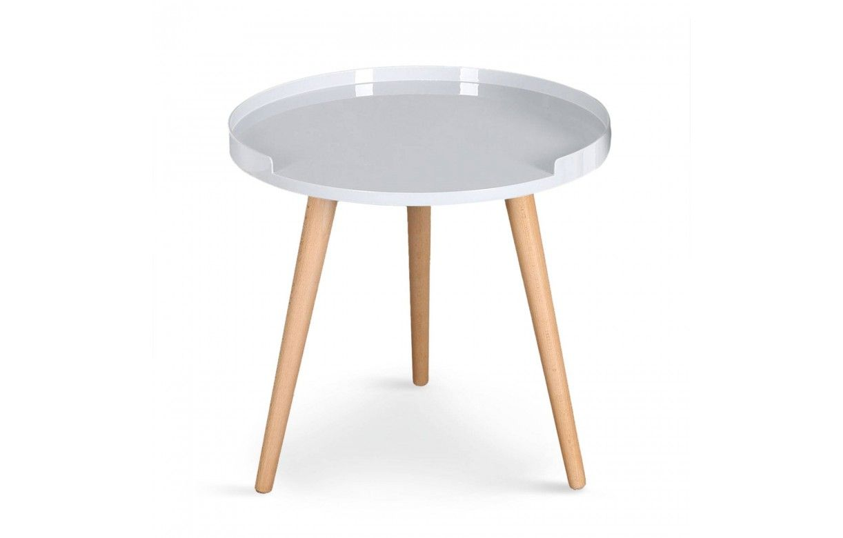 Table basse ronde avec rebords scandinave - Table basse avec tabouret ...