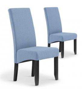 Lot de 2 chaises en tissu bleu clair haut dossier