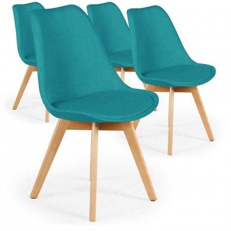 Chaise en tissu et pieds bois style scandinave - Lot de 4 -