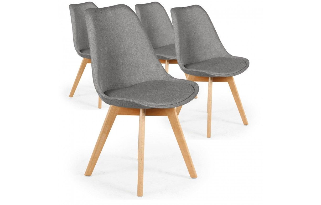 Chaise En Tissu Et Pieds Bois Style Scandinave Lot De 4