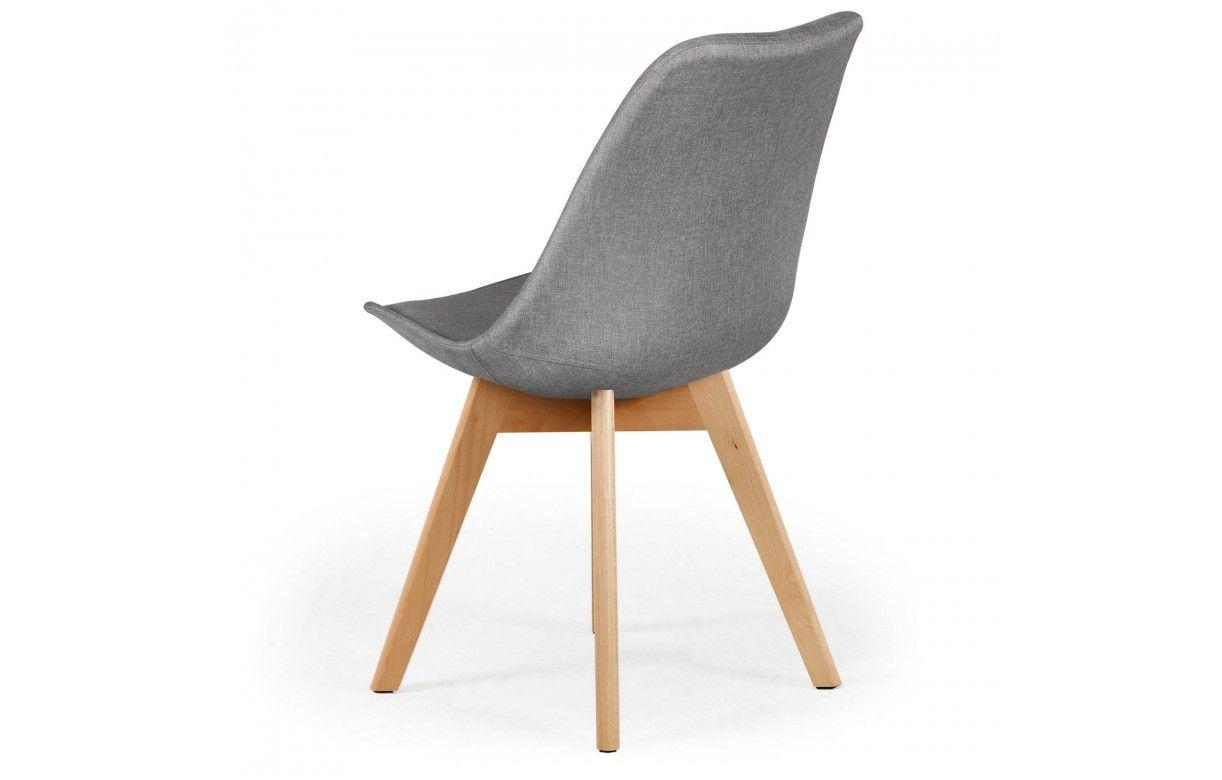 chaise en tissu et pieds bois style scandinave lot de 4. Black Bedroom Furniture Sets. Home Design Ideas