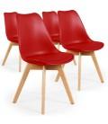 Chaise style scandinave assise en simili cuir - Lot de 4 -