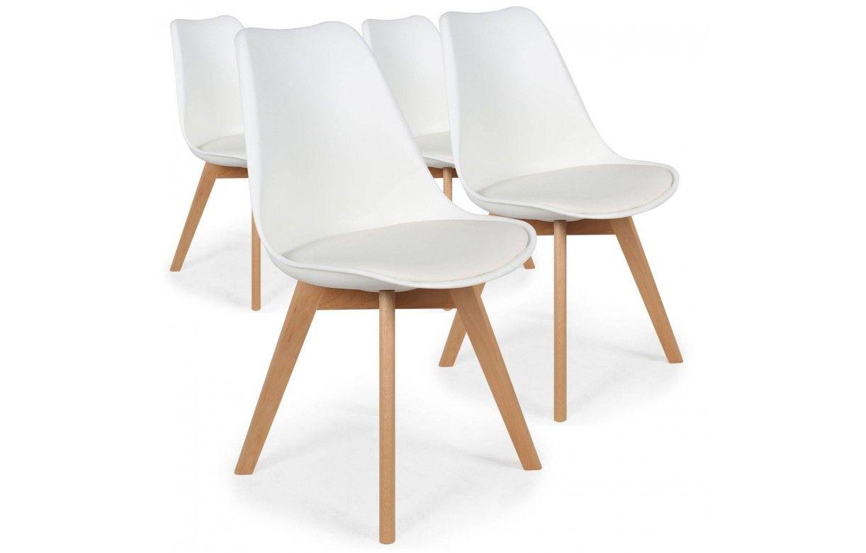 chaise style scandinave assise en simili cuir lot de 4. Black Bedroom Furniture Sets. Home Design Ideas