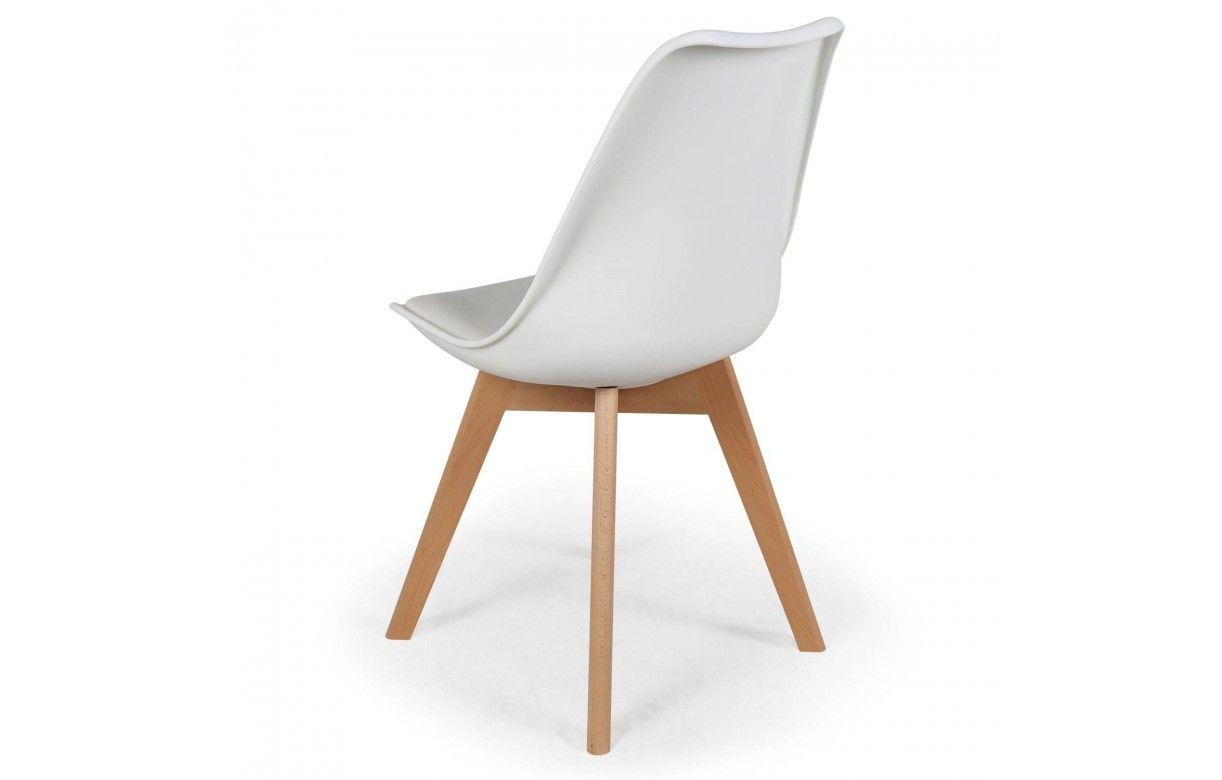 Chaise style scandinave assise en simili cuir lot de 4 for Chaise en simili cuir