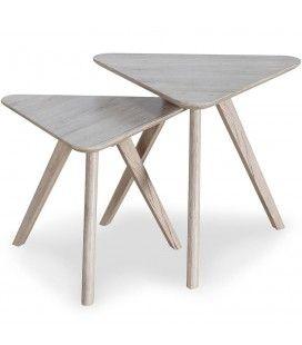 Ensemble de 2 petites tables triangulaires chêne clair scandinave