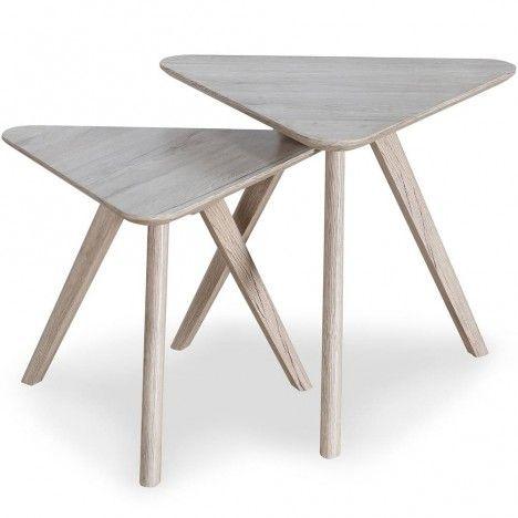 Ensemble de 2 petites tables triangulaires chêne clair scandinave -