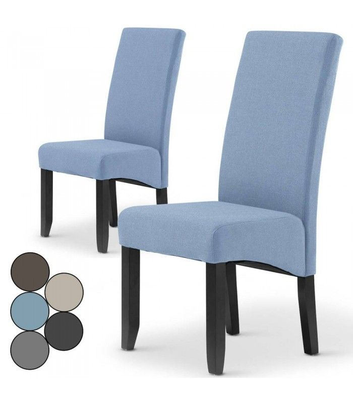 Chaise en tissu haut dossier lot de 2 for Chaise en tissu