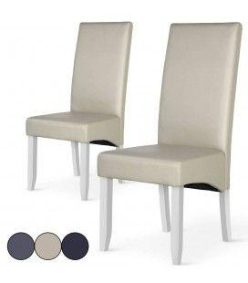 Chaise en simili cuir haut dossier - Lot de 2 -