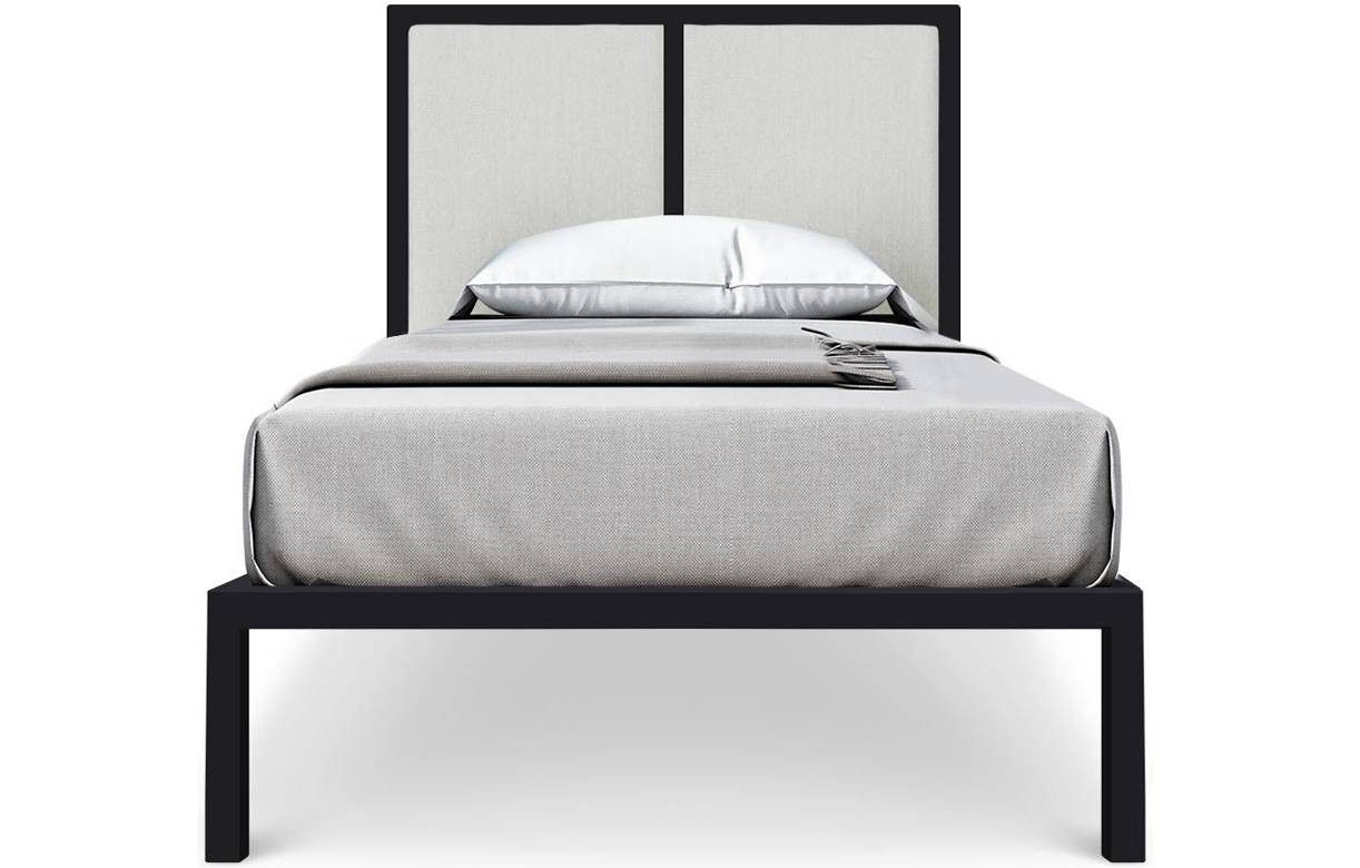 lit une personne en m tal noir avec t te de lit tissu beige. Black Bedroom Furniture Sets. Home Design Ideas