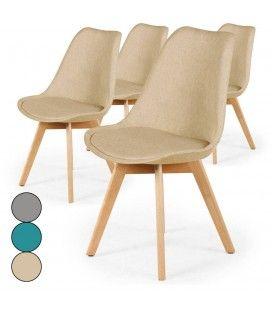 Chaise en tissu et pieds bois style scandinave - Lot de 4