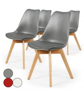 Chaise style scandinave assise en simili cuir - Lot de 4