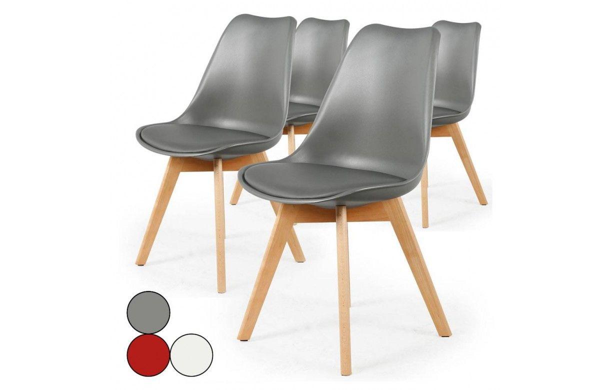 chaise style scandinave assise en simili cuir lot de 4 - Chaise Style Scandinave