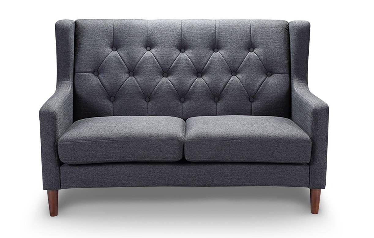 canap 2 places en tissu capitonn style scandinave. Black Bedroom Furniture Sets. Home Design Ideas