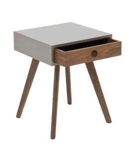 Table de chevet gris laqué en bois foncé avec tiroir