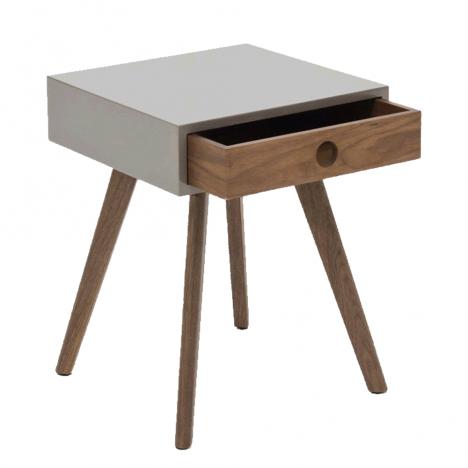 Table de chevet gris laqué en bois foncé avec tiroir -