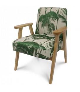 Fauteuil scandinave gris et bois clair vintage