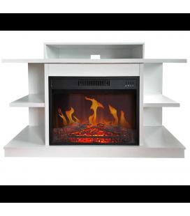Meuble TV blanc cheminée électrique avec étagères Fuji Cheminarte 147