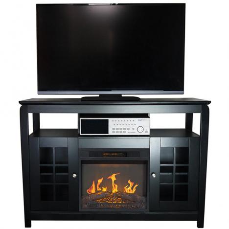 Meuble TV noir cheminée électrique avec tablettes et portes Osaka -