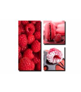 Tableau triptyque gourmand Fruits rouges 80x80 cm BERRIES
