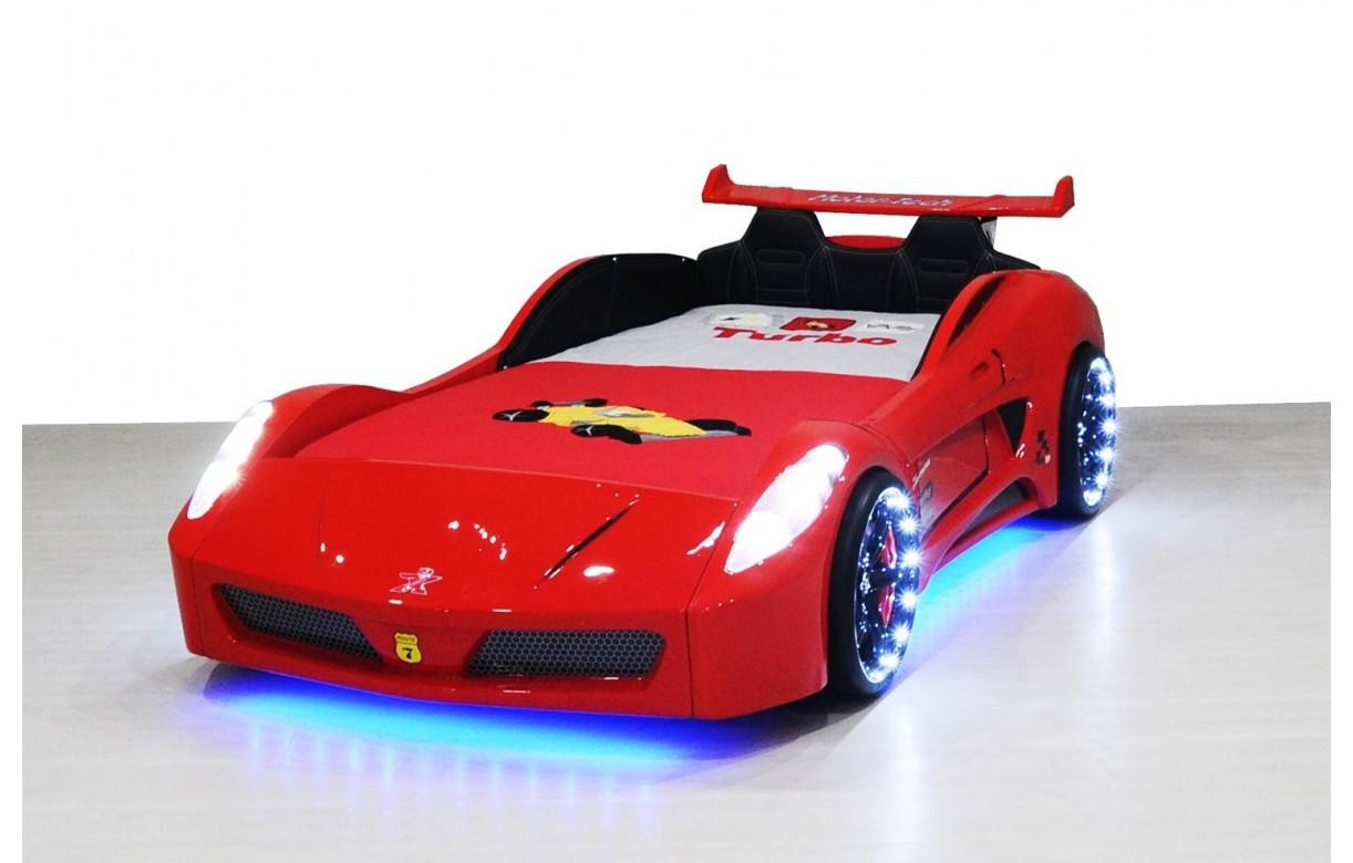 Lit Enfant V7 Store Rouge 90x190cm Led Decome Voiture bfY76yg