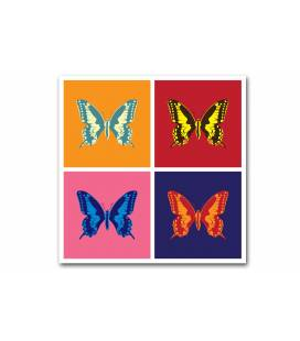 Tableau pop art papillon 4 couleurs 50x50 cm BUTTERFLIES