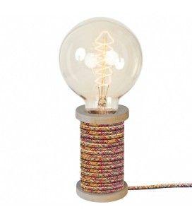 Lampe bobine de fil vintage cable gainé Bobino 9 coloris