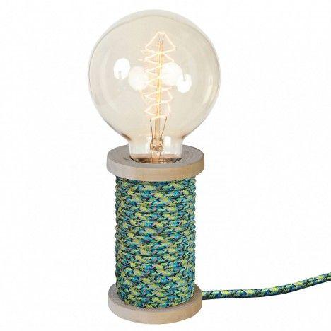 Lampe bobine de fil vintage cable gainé Bobino 9 coloris -