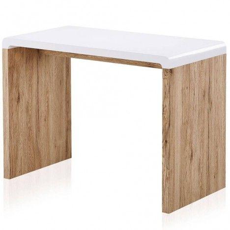 bureau console bois clair et blanc style scandinave 100x50cm. Black Bedroom Furniture Sets. Home Design Ideas