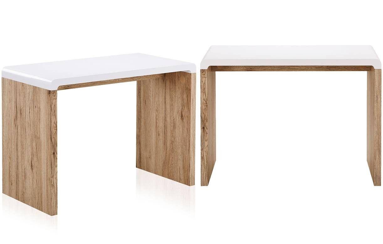 Bureau console bois clair et blanc style scandinave 100x50cm - Bureau bois et blanc ...