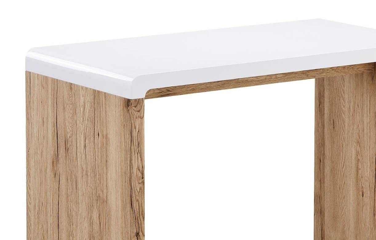 bureau console bois clair et blanc style scandinave 100x50cm. Black Bedroom Furniture Sets. Home Design Ideas