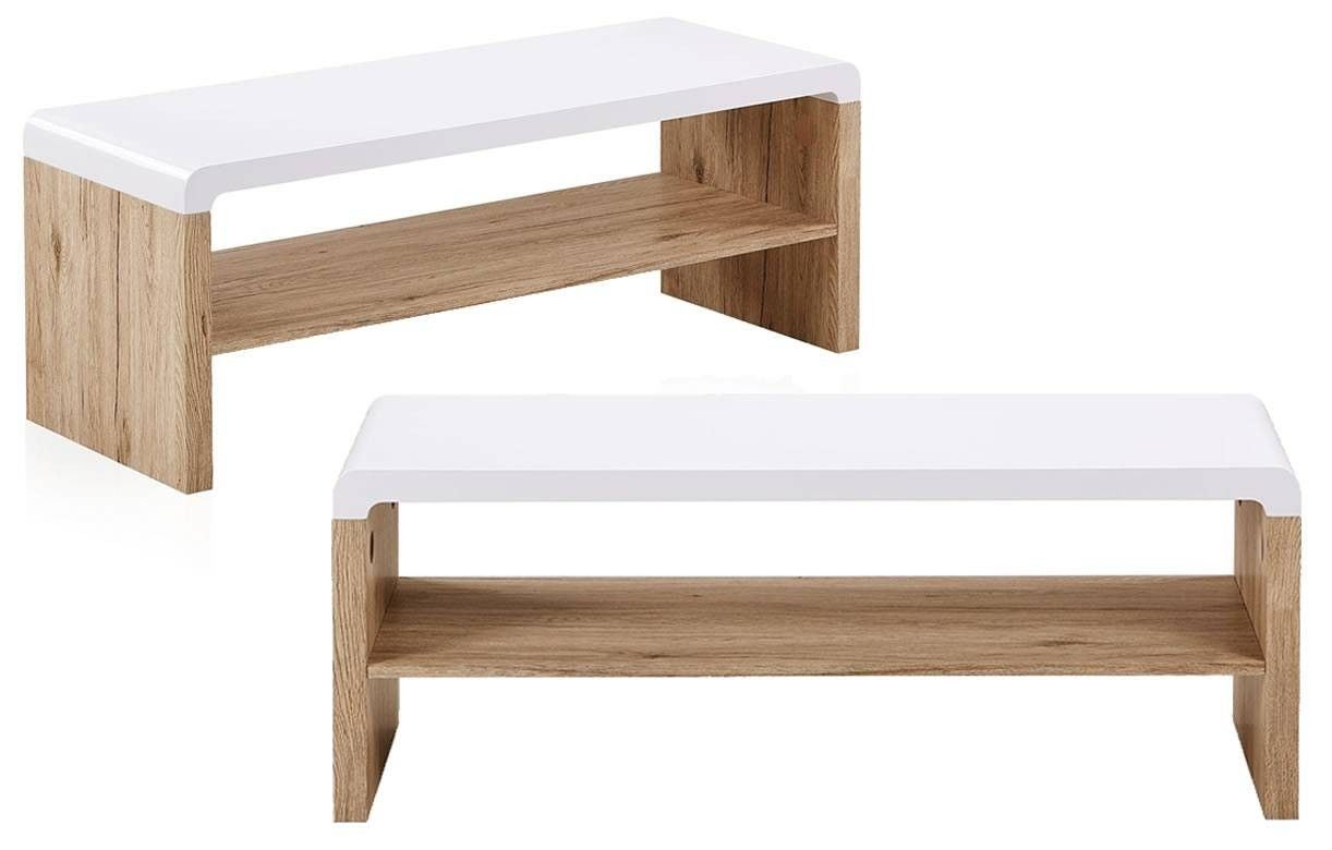 Meuble tv table basse bois et blanc style scandinave nordic - Table basse avec tablette ...