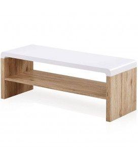 Meuble TV table basse bois et blanc avec tablette Nordic