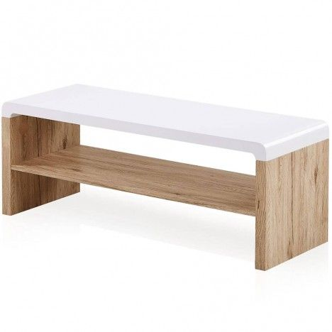 Meuble tv table basse bois et blanc style scandinave nordic for Meuble tv tablette