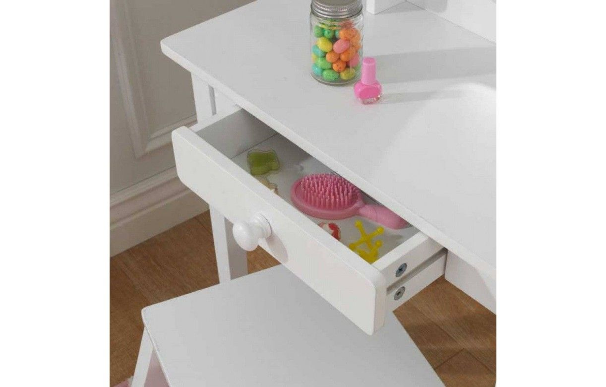 coiffeuse blanche et tabouret petite fille kidkraft 13009 decome store. Black Bedroom Furniture Sets. Home Design Ideas