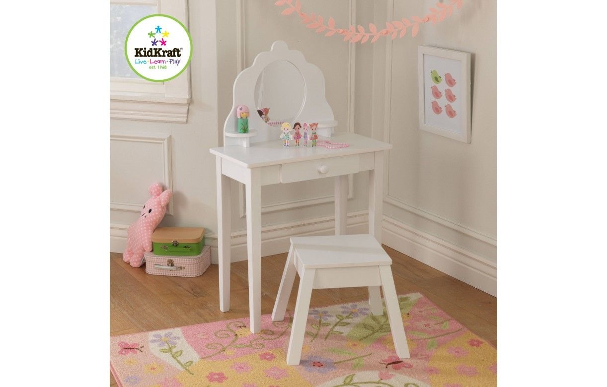 coiffeuse blanche et tabouret petite fille kidkraft 13009. Black Bedroom Furniture Sets. Home Design Ideas