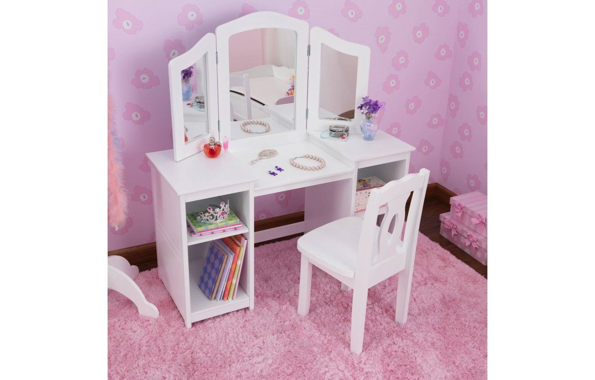 coiffeuse blanche et tabouret petite fille deluxe kidkraft 13018 decome store. Black Bedroom Furniture Sets. Home Design Ideas