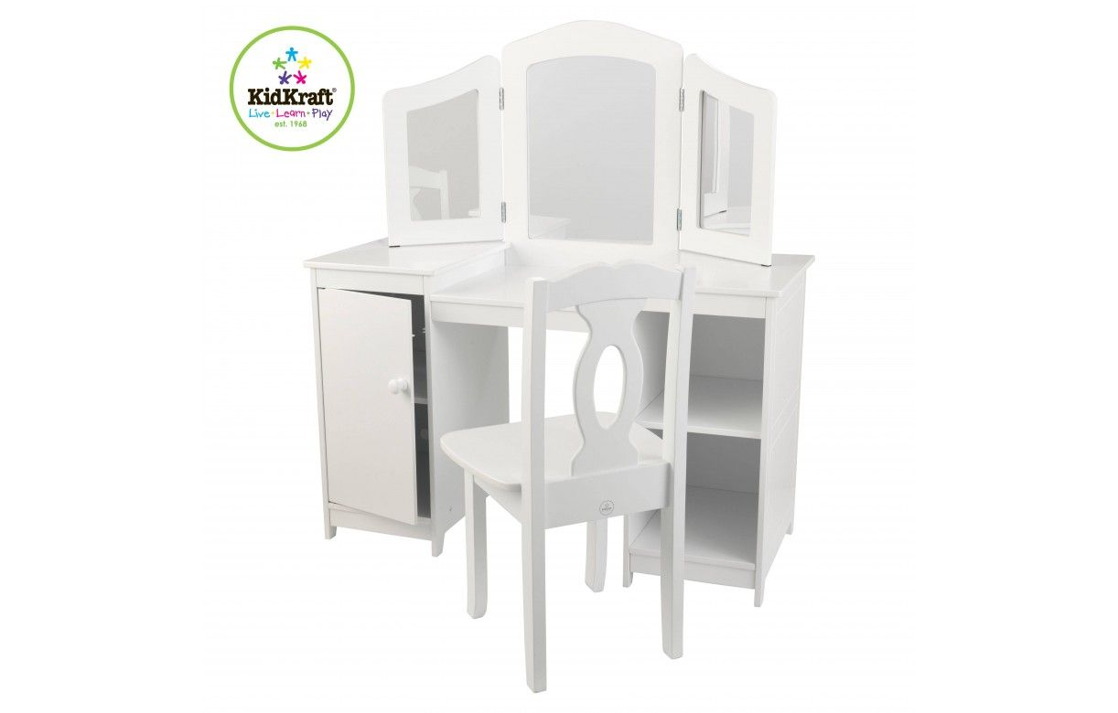 coiffeuse blanche et tabouret petite fille deluxe kidkraft. Black Bedroom Furniture Sets. Home Design Ideas