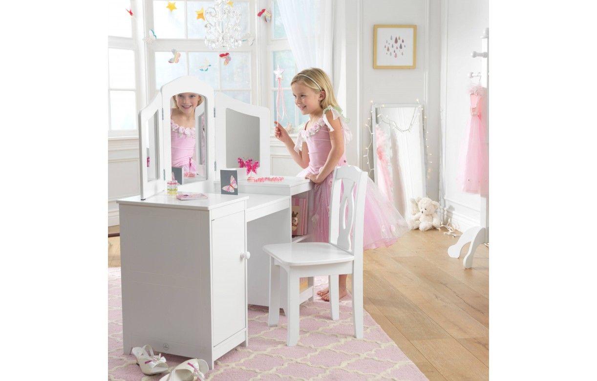 Coiffeuse blanche et tabouret petite fille deluxe kidkraft - Tabouret pour coiffeuse chambre ...