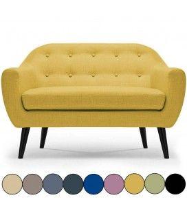 Canapé 2 places nordique en tissu Fidely - 9 coloris