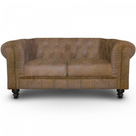 canap vintage marron en tissu capitonn 2 places chesterfield decome store. Black Bedroom Furniture Sets. Home Design Ideas